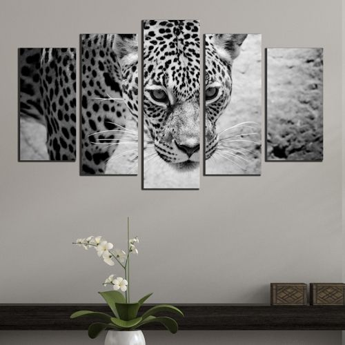 Black and white canvas wall art set with jaguar