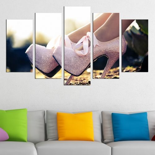 Canvas art set for decoration High heels shoes