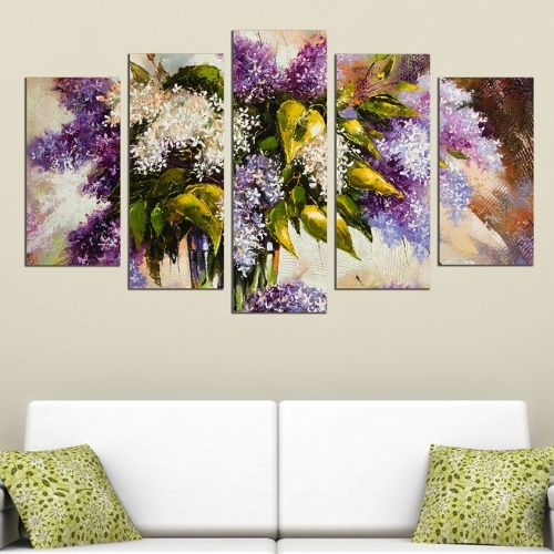 Canvas art set for decoration zen compozition with lilac