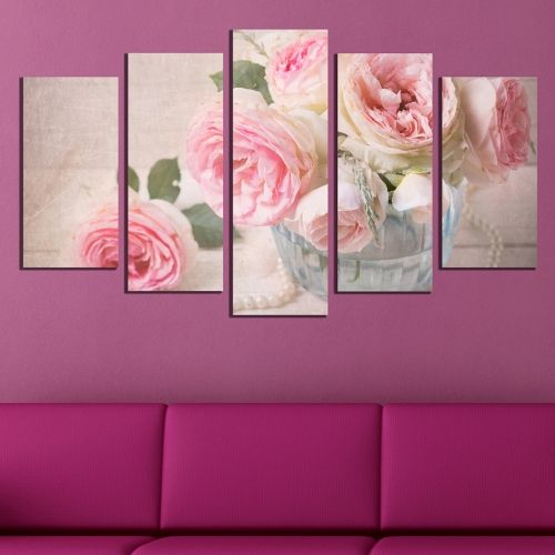 wall art canvas decoration set with vintage roses