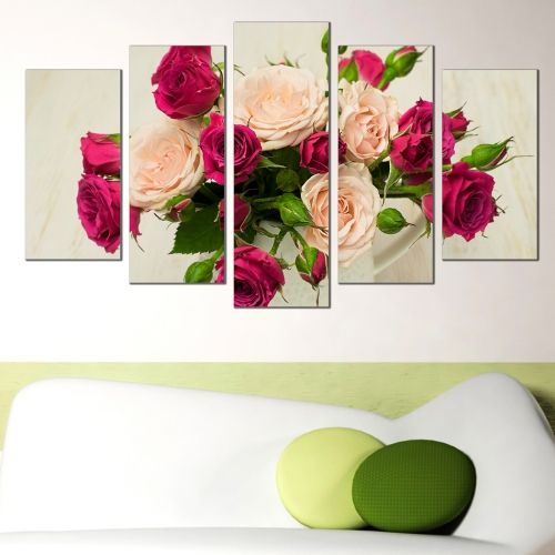 wall art canvas decoration set with roses in a vase