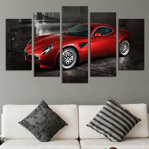 Canvas art set for decoration zen compozition with red car
