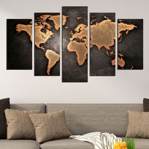 Modern abstract wall decoration set with old map