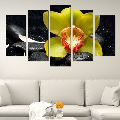 Canvas art set for decoration zen compozition with yellow orchid