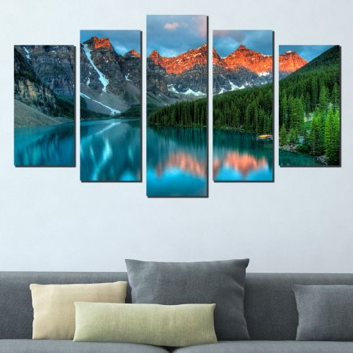 wall art canvas decoration set with mountain landscape