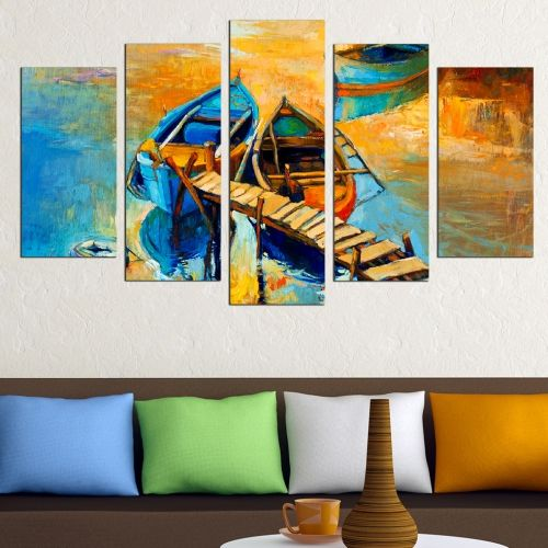 Canvas art set for decoration sea landscape with boats