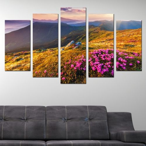 wall art canvas decoration set with beautiful mountain landscape