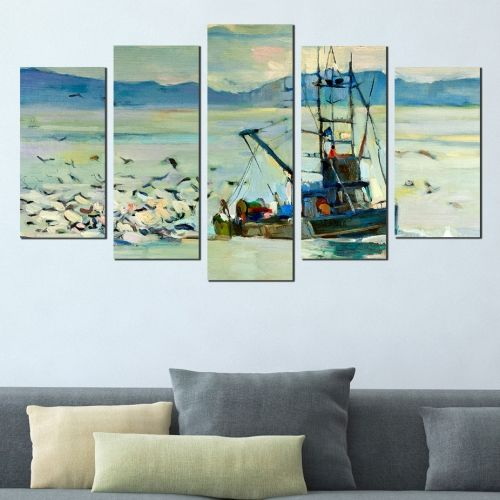 Canvas art reproduction with fishing boat in blue