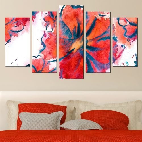 Canvas art set Abstract flowers in red and orange