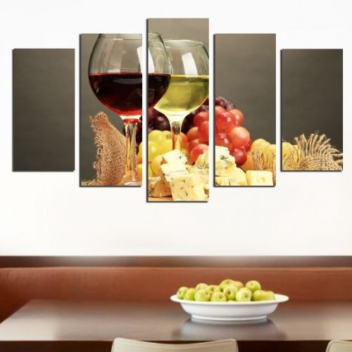 Canvas art set for restaurant with white and red wine