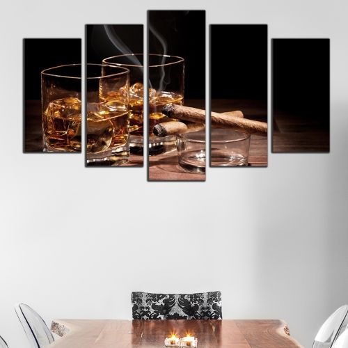 Canvas art set for night club whiskey and cigars