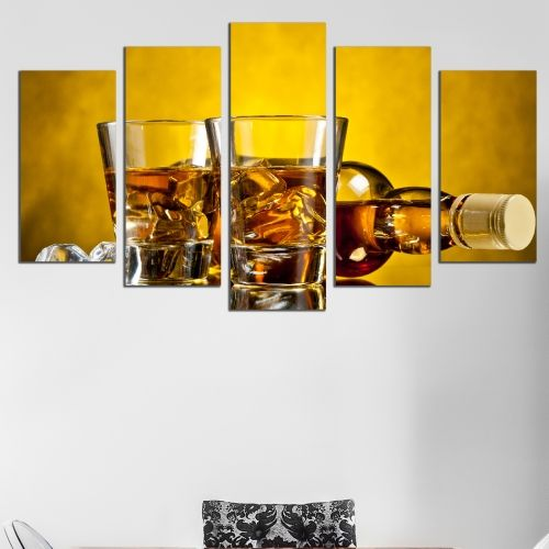 Canvas art set for night club whiskey and ice