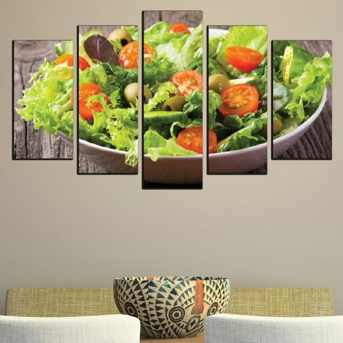 Canvas art set for restaurant composition with cheese