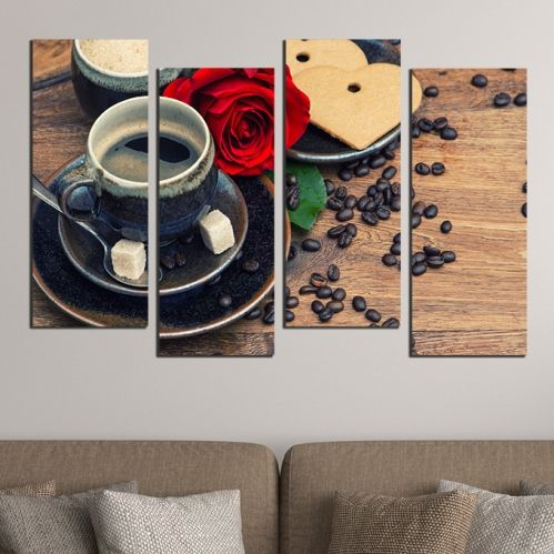 wall art with coffee and red rose