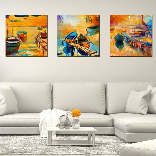 set of 3 paintings sea landscape Boats oil painting reproduction