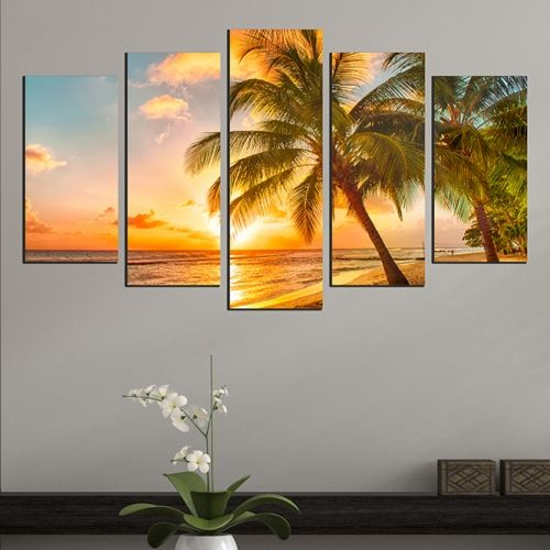 5 pieces home decoration with exotic beach landscape