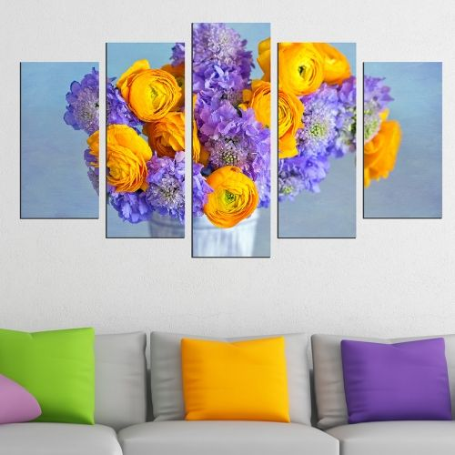 Canvas art set for home decoration colorful flowers