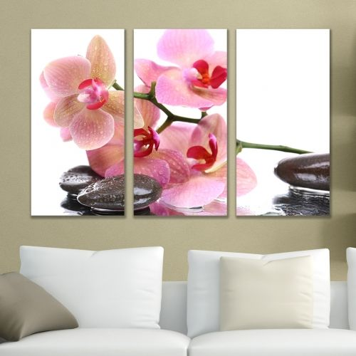 Canvas wall art with pink orchids on white background