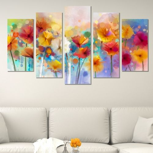 Canvas art set for home decoration colorful abstract flowers