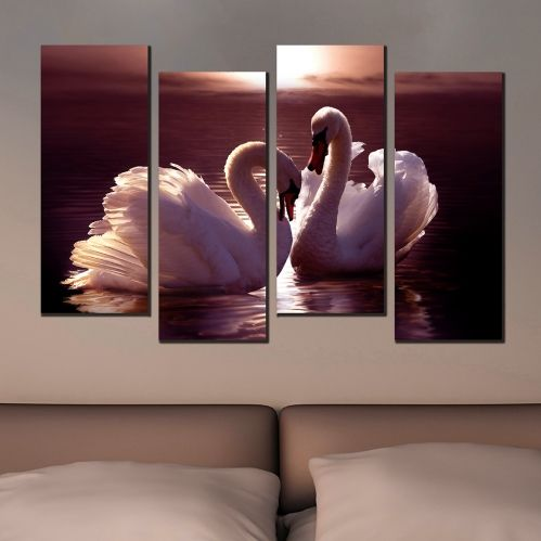 canvas wall art for bedroom with swans in love