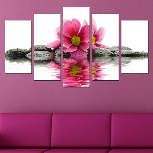 Canvas art set zen composition with flower and stones