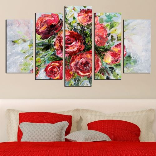 Canvas wall art for living room or bedroom with red roses