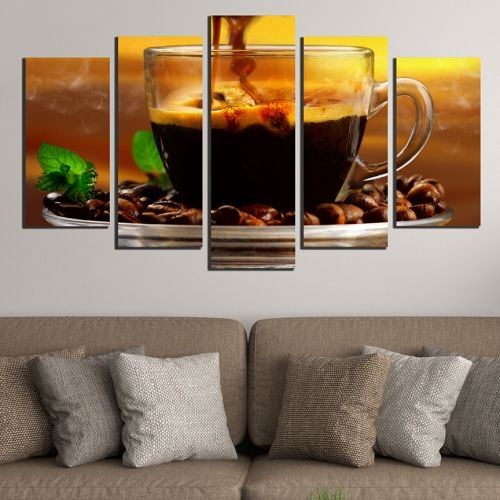Canvas art set Composition with aromatic coffee