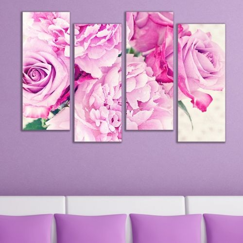 canvas wall art with vintage flowers for living room