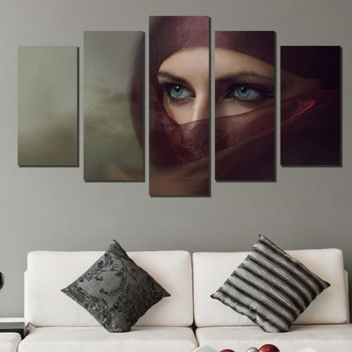 Canvas art set for decoration mysterious woman