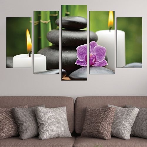 Canvas art set zen composition white green purple black
