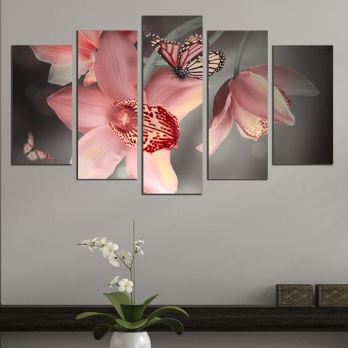 Canvas art set orchids and butterflies pink and grey