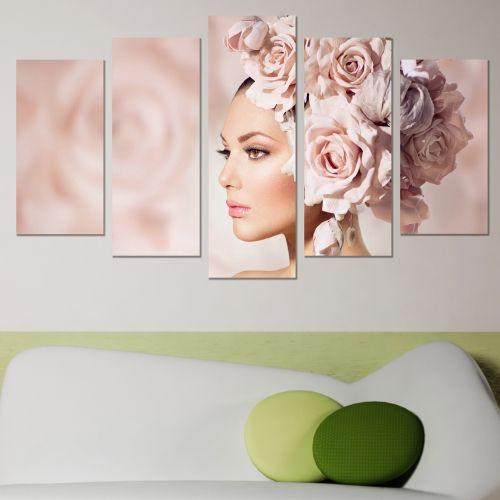 Canvas art set for decoration girl with roses