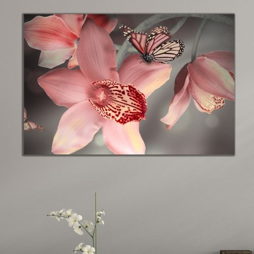 Wall art decoration beautiful orchids and butterlies