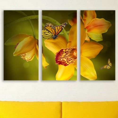 Canvas wall art decoration with yellow orchid