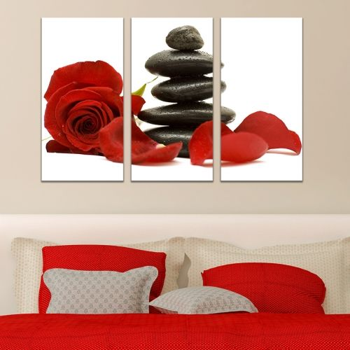 Wall art decoration in red, black and white
