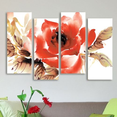 Wall art decoration set with rose