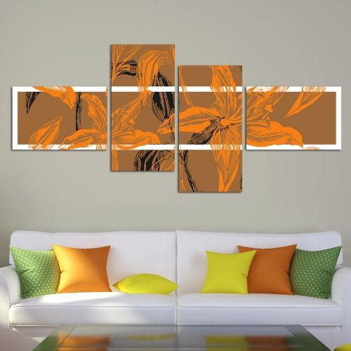 0133_1 Floral Wall art decoration (set of 4 pieces) in brown and orange