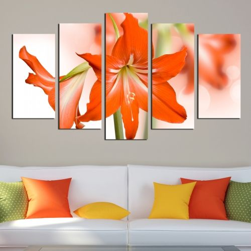 wall decoration with orange flower