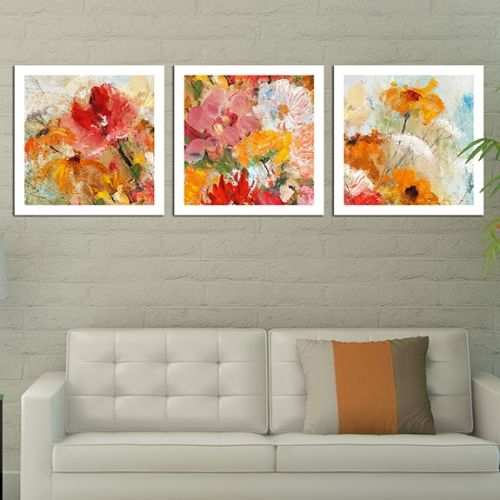 Set of 3 paintings with flowers