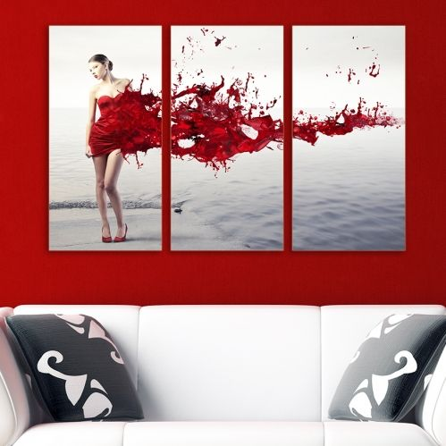 Abstract canvas art with woman in red dress