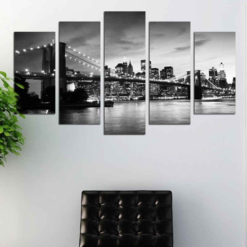 Black and white wall art decoration set of 5 pieces New York ...
