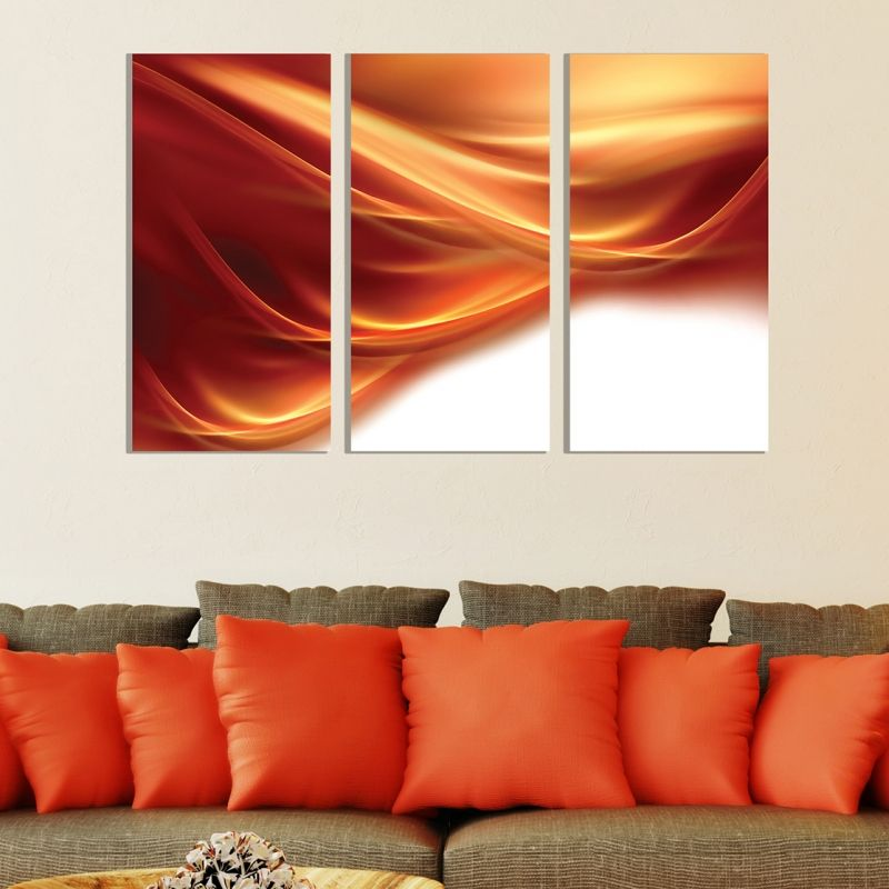 Wall Decorations Orange : Abstract canvas wall art decoration in orange