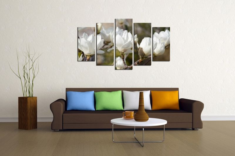 Magnolia Wall Art wall art decoration (set of 5 pieces) white magnolia