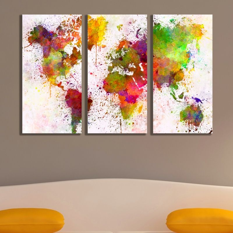 Online wall art decoration set of 3 parts Abstract world map