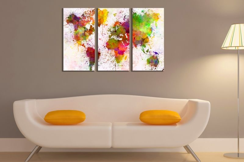 Online wall art decoration set of 3 parts abstract world map 800x800 canvas wall art set of 3 pieces world map 800x533 gumiabroncs Gallery