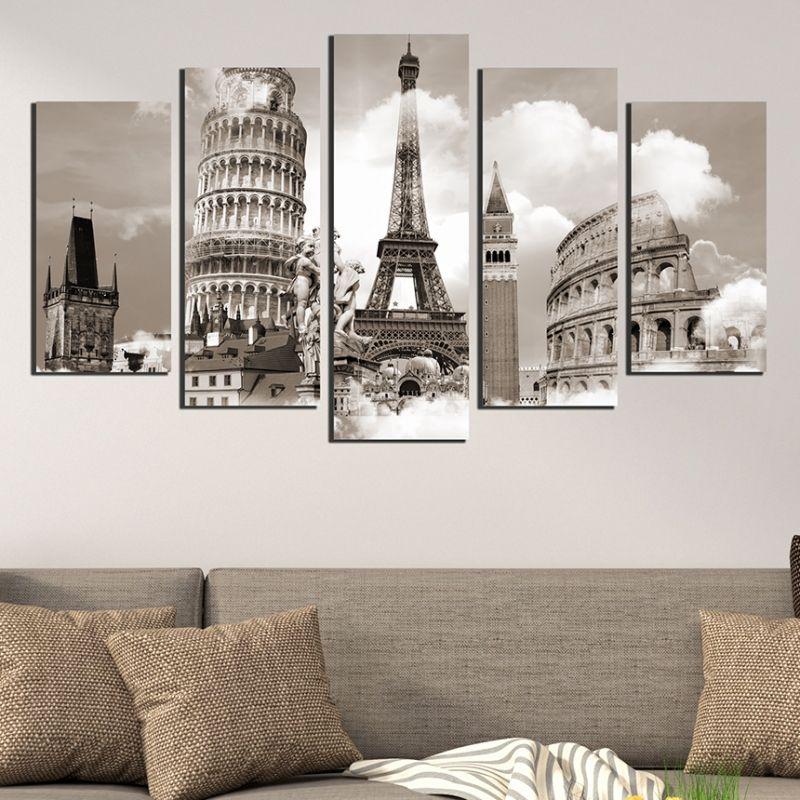 Canvas wall art EU symbols & Wall art decoration (set of 5 pieces) European symbols