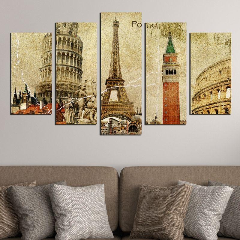 Wall art decoration (set of 5 pieces) European symbols - vintage