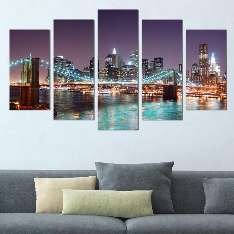 Wall art decoration (set of 5 pieces) New York Brooklyn Bridge