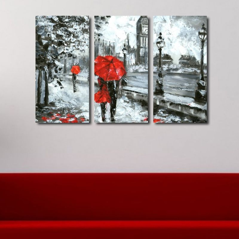 Wall Art Decoration Set Of 3 Pieces Lovers In London