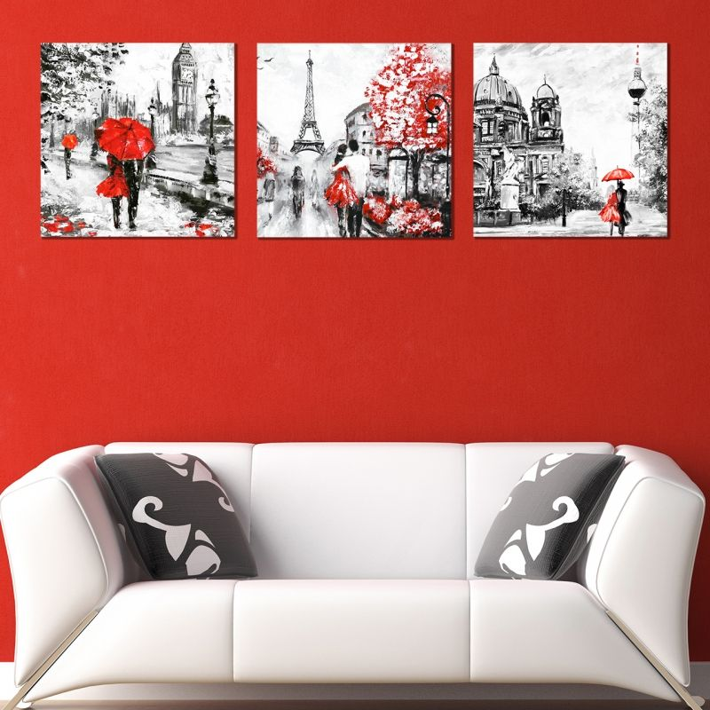 Online modern wall art decoration of 3 pieces London Paris Berlin